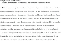 Advocacy greg bakers online portfolio this is a sample letter to a school board advocating for funding for an audio book collection in the library the goal was to appeal to a wide audience in thecheapjerseys Images
